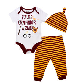 Warner's Harry Potter 3 piece Pant, Bodysuit and Hat Set - White, Newborn-0  Months
