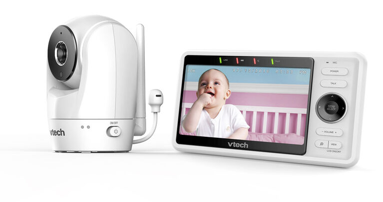 """VTech RM5762 Wi-Fi Remote Access Video Baby Monitor with 5"""" 1080p HD Pan & Tilt Camera - White"""