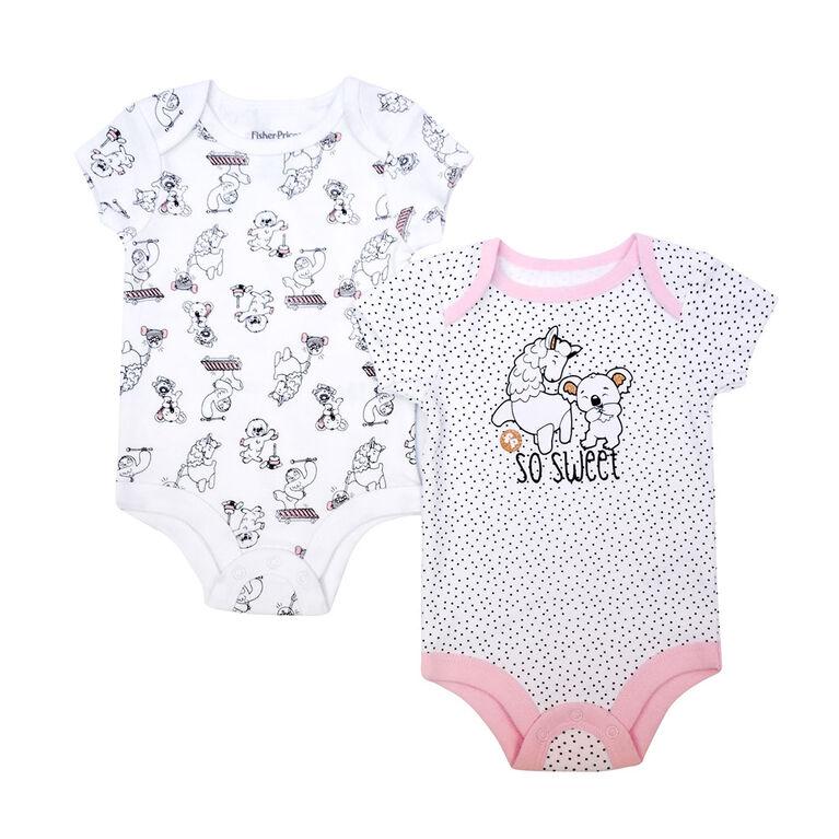 Fisher Price 2 pack Bodysuit - Pink, Newborn