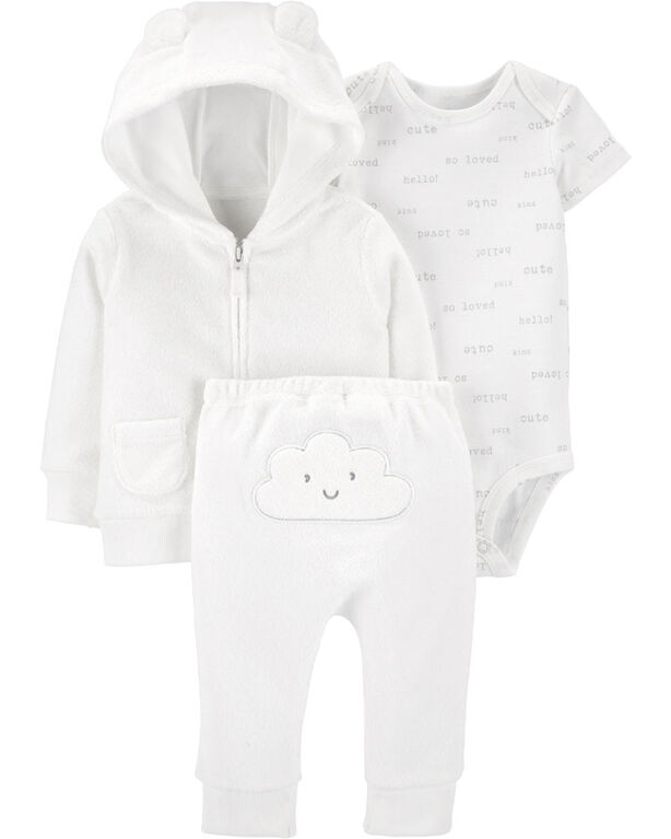 Carter's 3-Piece Cloud Little Jacket Set White - 12 Months