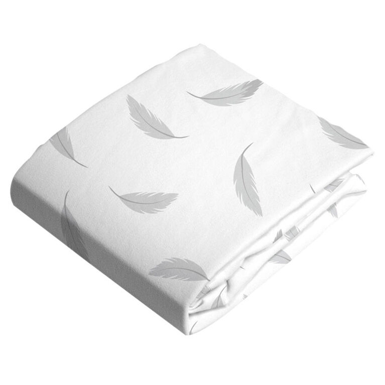 Kushies Bassinet Sheet Flannel Grey Feathers