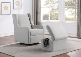 Lennox Glider Swivel with Storage Ottoman Luca Light Gray