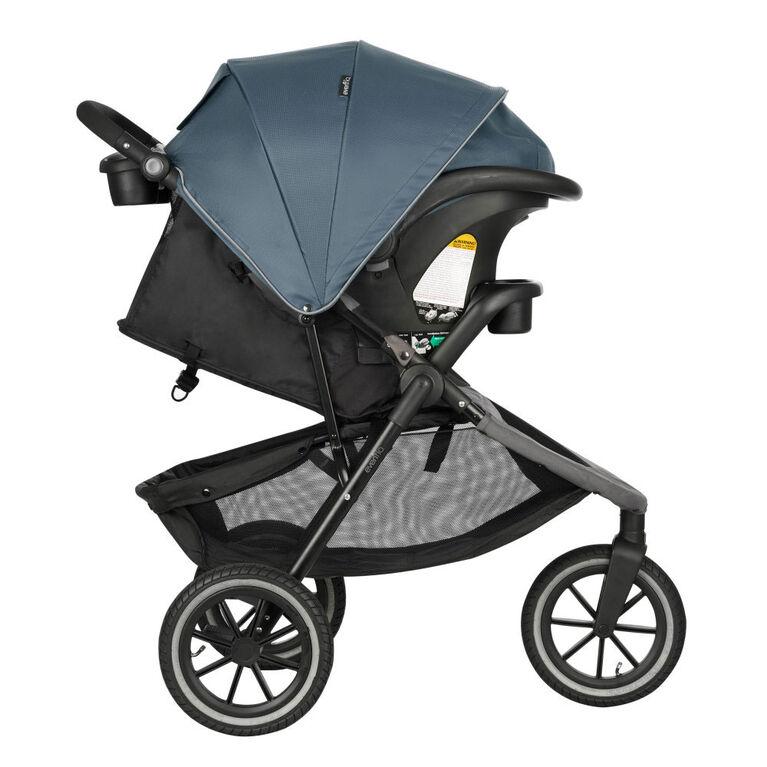 Système de voyage Folio3 Stroll and Jog avec le siège d'auto pour bébé LiteMax 35 Skyline Evenflo.