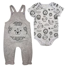 Fisher-Price 2-Piece overall set - Grey, 3 Months