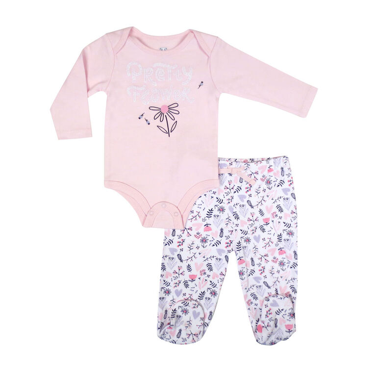 Rococo 2 Piece Footed Pant Set - Pink, 6 Months