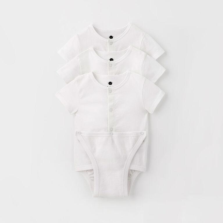 simple diaper shirt 3-pack, 0-3m - white
