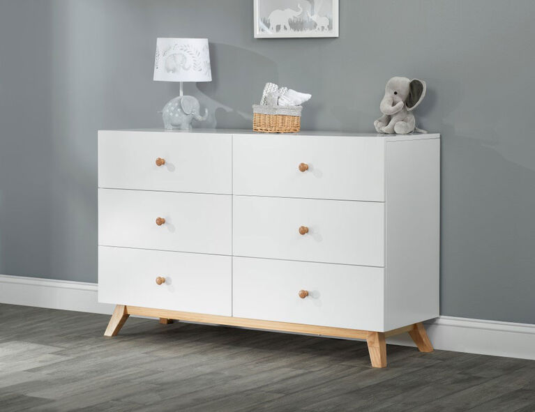 Oxford Baby Visby 6 Drawer Dresser White/Natural||Oxford Baby Visby 6 Drawer Dresser White/Natural