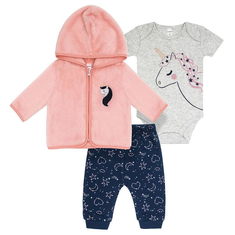 Petit Lem -  Baby Girls Hoodie Set  3pcs Night Magic -Pink, 9 Months