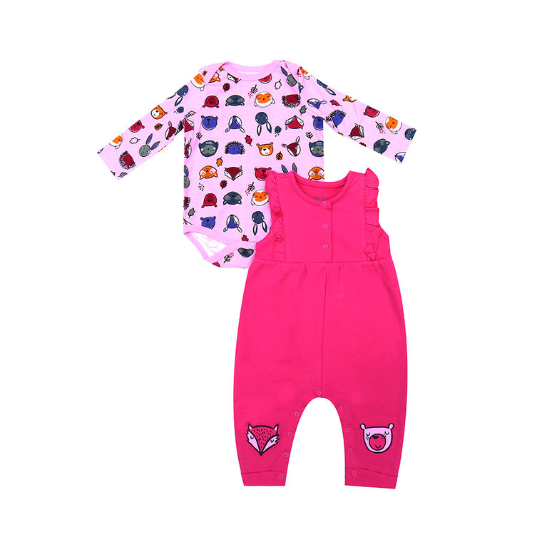 earth by art & eden - Olivia Overall Set - 2-Piece Set - Powder Pink Multi, 24 Months