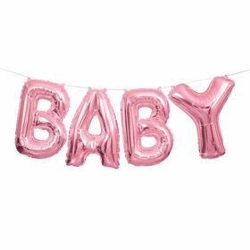 """Pink Baby Foil Balloon Banner Kit 14"""" - English Edition"""