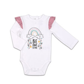 The Peanutshell Baby Girl Layette Mix & Match Be Awesome Ruffle Shoulder Bodysuit - 0-3 Months