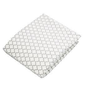 Kushies drap contour en flanelle pour lit de bébé - ornement blanc/gris.
