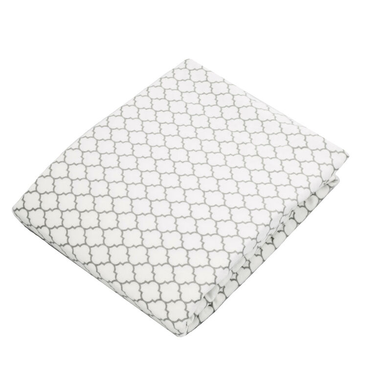 Kushies Crib Sheet Flannel Ornament Lt. Background Grey
