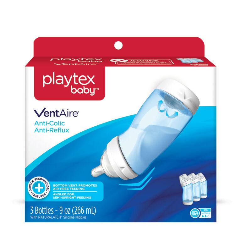 Playtex - Emballage de 3 biberons VentAire bleus de 9 oz (266 mL).