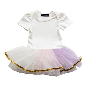 Olivia Rose – Short Sleeve Rianbow Tutu Dress – White - 6 - 9 Months
