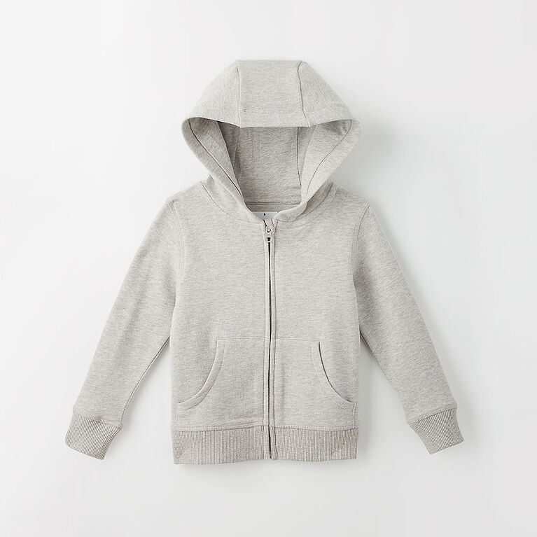 zip happy hoodie, 18-24m - grey mix
