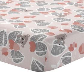 Drap-housse ajusté pour lit de bébé Feuilles rose/gris Lambs & Ivy Calypso.