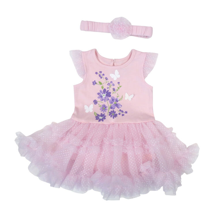 Rococo Tutu Dress and Headband - Pink, 12-18 Months