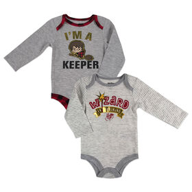Harry Potter 2 Pack Bodysuits - Grey, 9 Months.