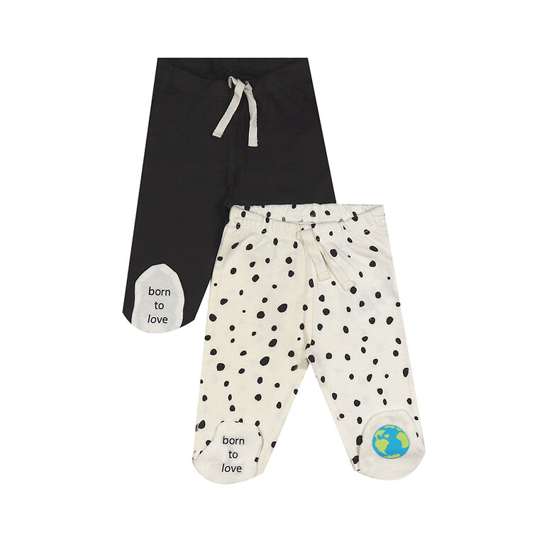 earth by art & eden - Ian Footed Leggings - 2 Pack - Nine Iron Multi, 6 Months