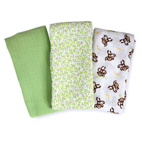Summer Infant SwaddleMe Premium Muslin Swaddle Blankets - Go Bananas