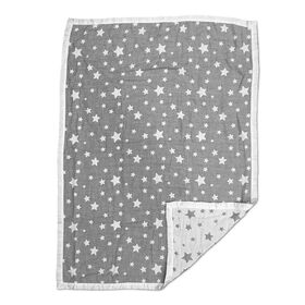Cotton Muslin Jacquard Blanket - Grey Stars