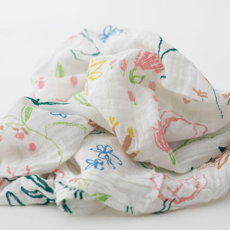 Red Rover - Cotton Muslin Swaddle Single - Pastel Petal