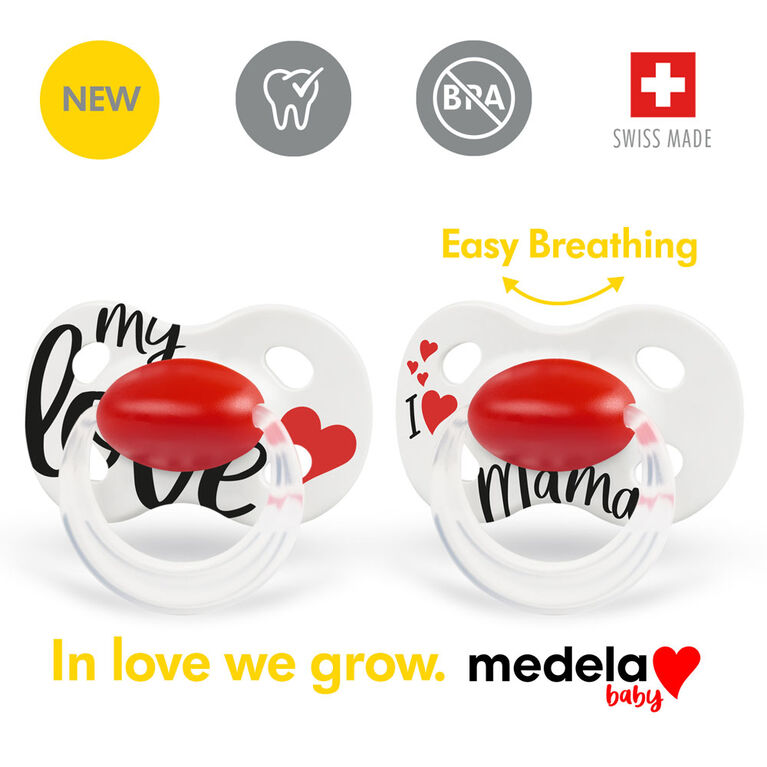 Medela Baby new ORIGINAL Pacifier, Perfect for everyday use, BPA free, Lightweight and orthodontic - Baby pacifier 18+ mo Signature
