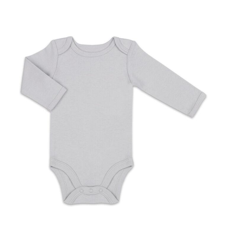 Koala Baby 4Pk Long Sleeve Bodysuit Solid Grey Combo, 6-9 Months