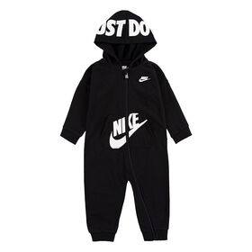 Nike Hooded Baby Ft Coverall - Black, Size 12 Months