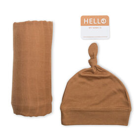 Lulujo Baby Hello World Newborn Bamboo Hat and Swaddle Blanket Set Tan