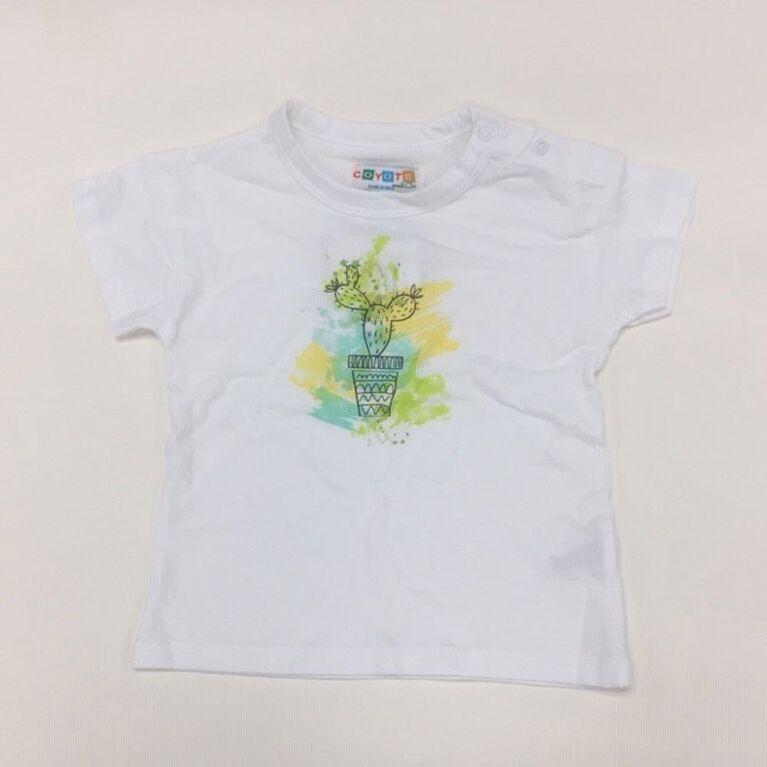 Coyote and Co. T-shirt à imprimé cactus - Blanc - de 0 à 3 mois.