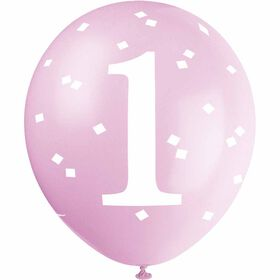 "Pink Gingham 1st Bday 12"" Latex Balloons 5 pieces"