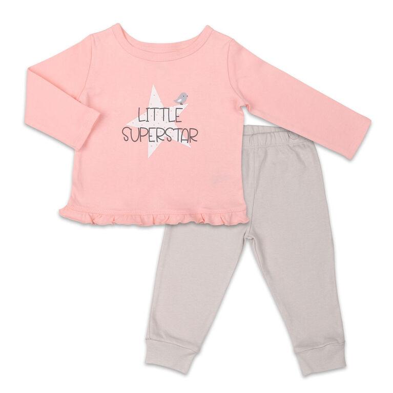 Ensemble chemise et pantalon Koala Baby Dream Girl, Little Superstar - Nouveau - Né