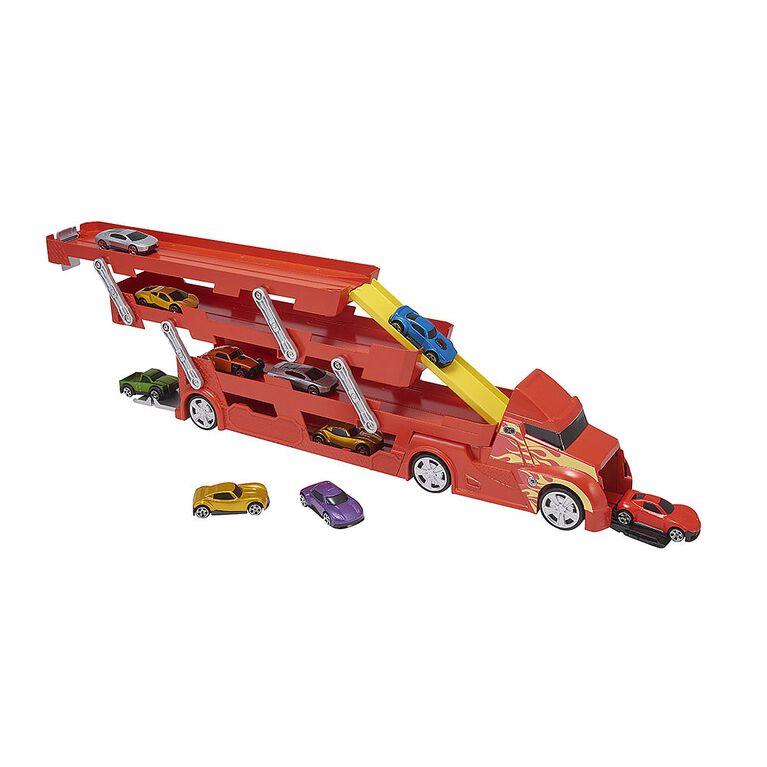 Camion de transport et de propulsion de voitures Teamsterz + 10voitures.