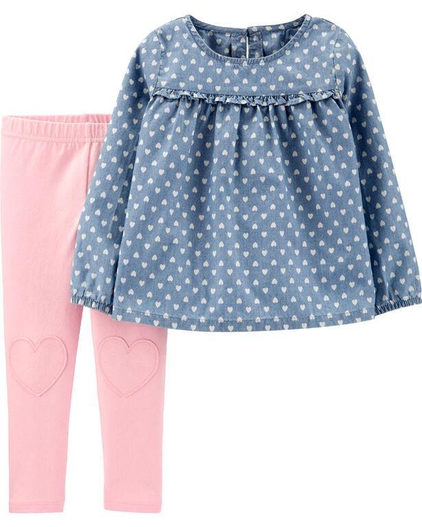Ensemble 2 pièces haut en chambray à cœur et legging Carter's – bleu/rose, 12 mois