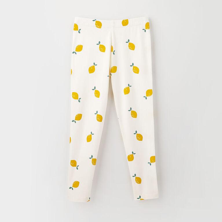 organic play legging, 12-18m - cream print