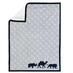 Just Born Dream Animal Print Blanket - Navy
