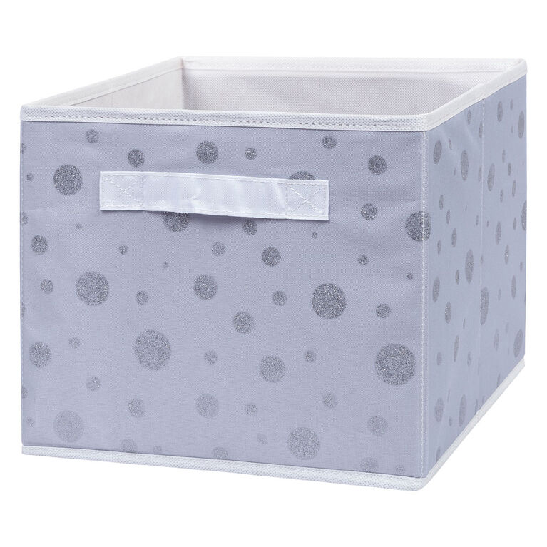 Silver Foil Dot Canvas Storage Bin