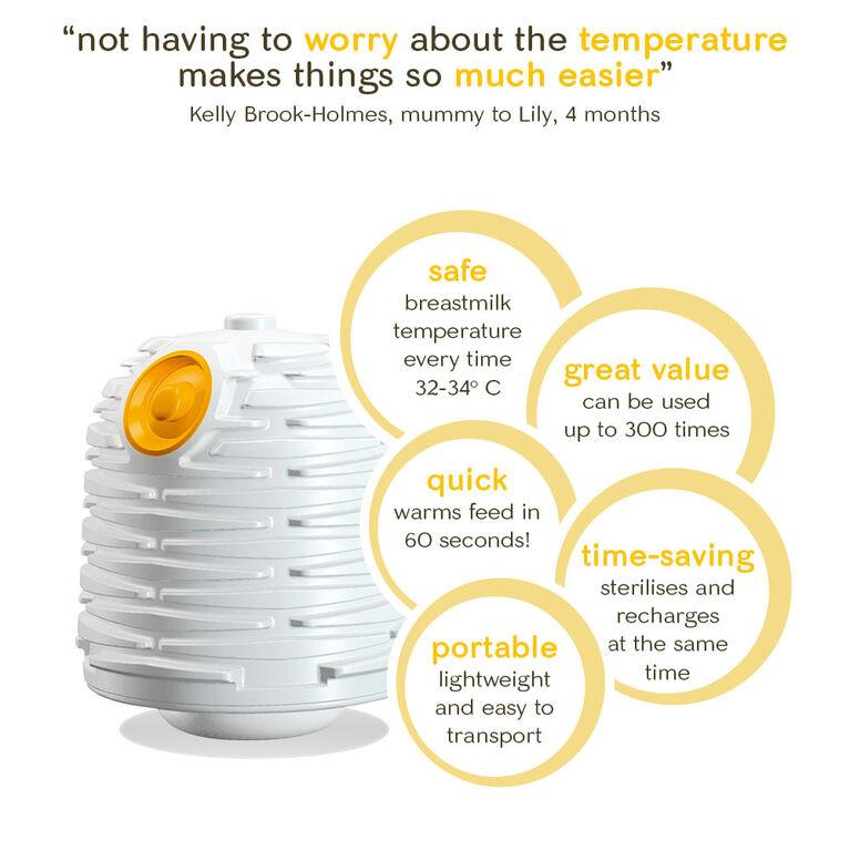 Système d'alimentation yoomi Bouteille Easy-Latch™ de 5oz avec chargeur plus chaud et plus rapide.