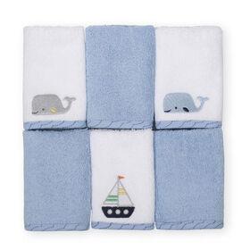 Koala Baby 6-Pack Washcloths, Blue Maritime
