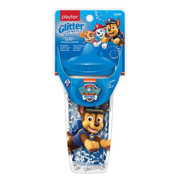 Emballage de 1 verre antifuites Paw Patrol Glitter de 266 mL de Playtex avec bec ‒ bleu