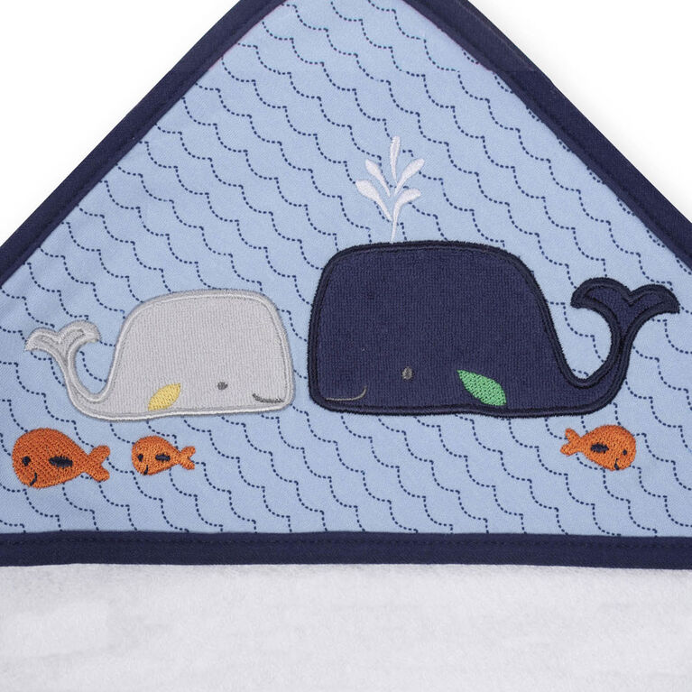 Koala Baby Hooded Towel and Washcloth Set, Blue Whale