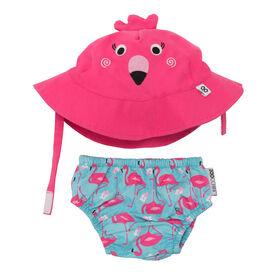 Zoocchini - Swim Diaper & Hat Set - Flamingo - Medium