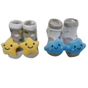 So Dorable 2 Pack Rattle Booties With 3D Icons - Cloud and Star - 12 months