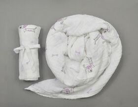 Couverture d'emmaillotage mousseline BBZanimo - Chien, violet.