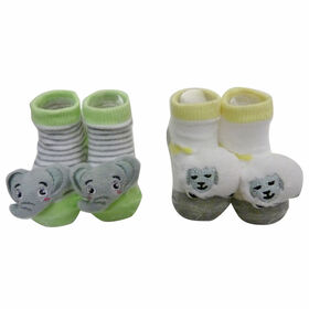 So Dorable 2 Pack Rattle Booties With 3D Icons - Sheep  / Elephants 0-12M