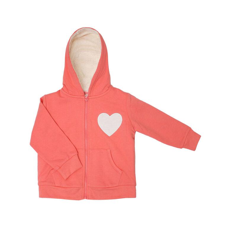 Koala Baby Girls Sherpa Lining Cardigan - Coral Heart, 6 Months