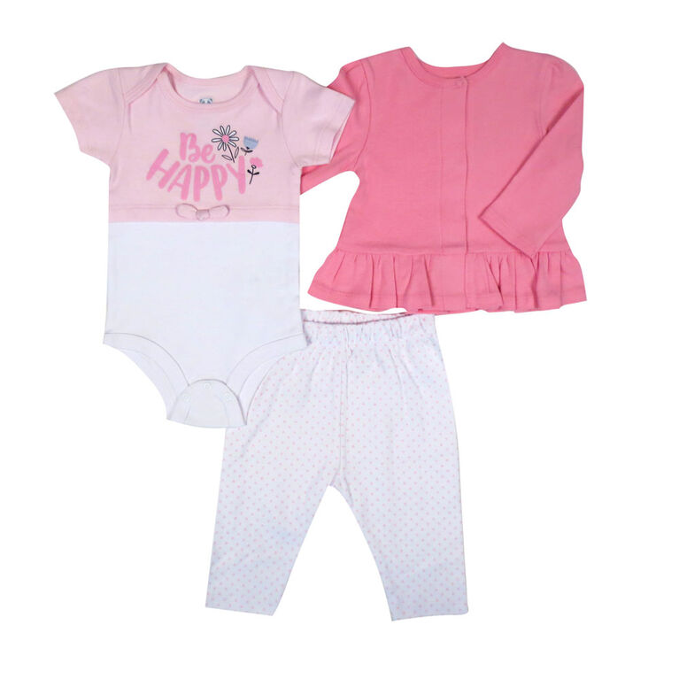 Rococo 3 Piece Cardigan Set - Pink, Newborn