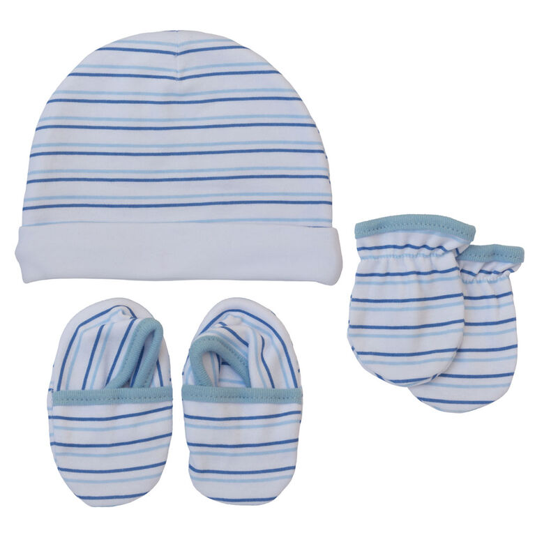 Koala Baby Hat, Mittens And Booties - Blue Stripes, size 3-6 months